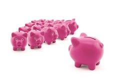 Grande grupo de bancos piggy Fotos de Stock
