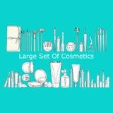 Grande grupo de cosméticos Fotografia de Stock Royalty Free