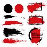 Grande grupo de elementos do grunge Escove cursos, bandeiras, limite-os, espirre-os, chapinhar-los Ilustração do vetor preto Foto de Stock