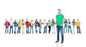 Grande grupo de estudantes adolescentes no branco Imagens de Stock Royalty Free