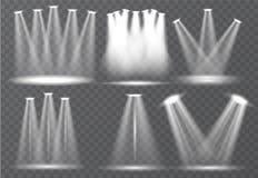 Grande grupo de iluminação da cena, efeitos transparentes Iluminação brilhante com coleção dos projetores ilustração royalty free