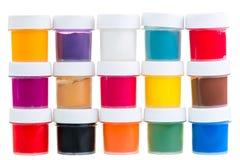 Grande grupo de latas da pintura do guache Imagens de Stock