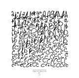 Grande grupo de mão tirado com letras pretas do forro, no fundo branco A parte 1 inclui a letra A, a letra B e o lett ilustração do vetor