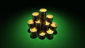 Grande grupo de microplaquetas de póquer do ouro Imagem de Stock Royalty Free