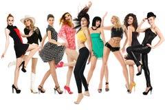 Meninas de dança felizes Fotos de Stock Royalty Free