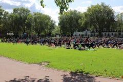 Grande grupo de participantes da ioga Fotografia de Stock Royalty Free