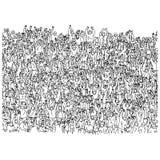 Grande grupo de pessoas aglomerado na mão da garatuja do esboço da ilustração do vetor do estádio tirada com as linhas pretas iso ilustração do vetor