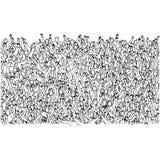 Grande grupo de pessoas aglomerado no estádio que levanta as mãos para a mão da garatuja do esboço da ilustração do vetor do elog ilustração stock