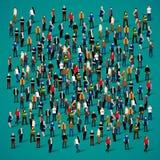 Grande grupo de pessoas aglomerado no fundo branco ilustração do vetor