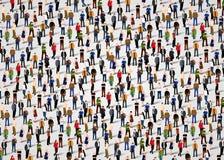 Grande grupo de pessoas aglomerado no fundo branco ilustração stock