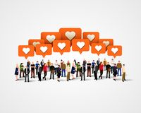 Grande grupo de pessoas com sinais como Conceito social da rede ilustração royalty free
