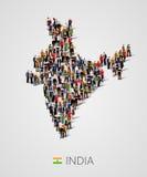Grande grupo de pessoas no formulário do mapa da Índia População do molde da Índia ou dos demográficos Fundo para a apresentação ilustração stock