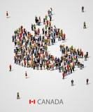 Grande grupo de pessoas no formulário do mapa de Canadá Fundo para a apresentação ilustração stock