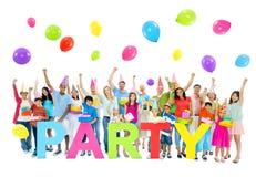 Grande grupo de pessoas no partido Foto de Stock Royalty Free
