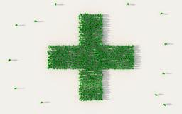 Grande grupo de pessoas que forma o ícone verde do hospital no conceito social dos meios e da comunidade no fundo branco sinal 3d ilustração royalty free