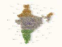 Grande grupo de pessoas que forma o conceito do mapa da Índia ilustração 3D ilustração do vetor