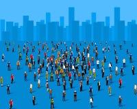 Grande grupo de pessoas sobre a cidade Conceito do negócio ilustração royalty free