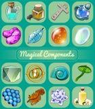 Grande grupo de produtos manufaturados mágicos ilustração stock