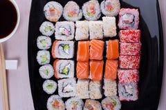 Grande grupo de sushi Imagens de Stock Royalty Free
