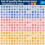 Grande grupo dos ícones brancos que apontam em três cores Fotos de Stock Royalty Free