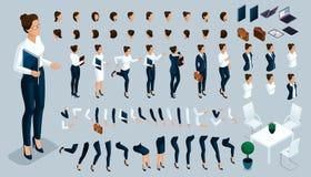 Grande grupo isométrico de gestos das mãos e dos pés de uma mulher, para criar um terno restrito do caráter da senhora do negócio ilustração royalty free