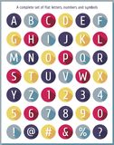Grande grupo liso de letras do alfabeto, de números e de símbolos Letra colorida lisa do alfabeto Alfabeto liso dos ícones Fotos de Stock Royalty Free