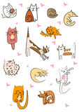 Grande grupo projetado de gatos bonitos dos desenhos animados Foto de Stock