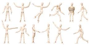 Grande gruppo di bambole del manichino con l'espressione differente Fotografia Stock