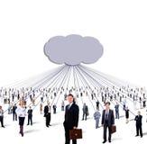 Grande gruppo di gente di affari e di nuvola Fotografia Stock Libera da Diritti