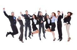 Grande gruppo di gente di affari emozionante fotografia stock libera da diritti