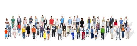 Grande gruppo di gente multietnica con le varie occupazioni Fotografie Stock Libere da Diritti