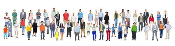 Grande gruppo di gente multietnica con le varie occupazioni Immagine Stock Libera da Diritti