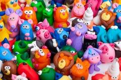 Grande gruppo di giocattoli dell'argilla Fotografie Stock