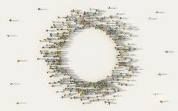 Grande gruppo di persone che formano un'icona della geometria del cerchio con lo spazio della copia in media sociali e concetto d illustrazione di stock