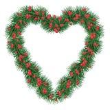Grande guirlande de sapin de Noël avec les baies rouges D'isolement Vecteur i Photo stock