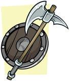 Grande hache de bande dessinée et bouclier en bois illustration de vecteur