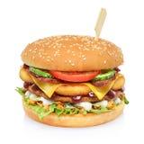 Grande hamburger alto isolato immagine stock