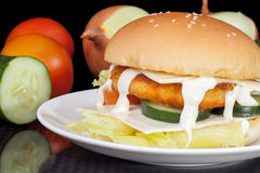 Grande hamburger casalingo del pollo del formaggio con maionese Immagine Stock