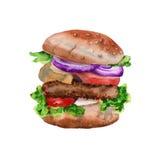 grande hamburger con una cotoletta Isolato su priorità bassa bianca Illustrazione dell'acquerello Fotografia Stock Libera da Diritti