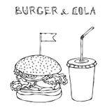 Grande hamburger, hamburger ou cheeseburger et soude ou kola de boisson non alcoolisée Icône à emporter d'aliments de préparation Photographie stock