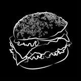 Grande hamburger, illustrazione di vettore Fotografie Stock Libere da Diritti