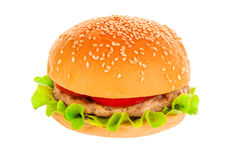 Grande hamburger su fondo bianco Fotografie Stock Libere da Diritti