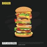 Grande hamburger su progettazione piana del fondo della lavagna illustrazione vettoriale
