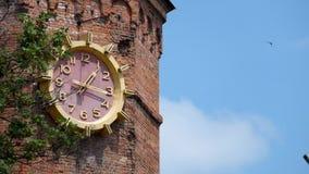 Grande horloge sur la vieille tour d'eau banque de vidéos