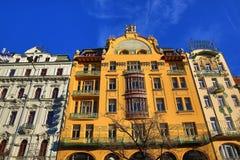 Grande hotel Evropa, vecchie costruzioni, quadrato di Wenceslav, nuova città, Praga, repubblica Ceca fotografia stock