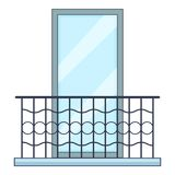 Grande icône de balcon, style de bande dessinée Image libre de droits