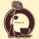 Grande icona con rosa e la tazza. Royalty Illustrazione gratis