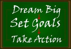 Grande ideal, ajustou objetivos, toma a ação Imagens de Stock Royalty Free