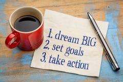 Grande ideal, ajustou objetivos, toma a ação Imagem de Stock