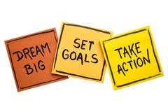 Grande ideal, ajustou objetivos, toma o conceito da ação Fotografia de Stock Royalty Free
